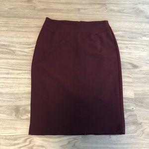 White House Black Market Maroon Career Skirt, Med